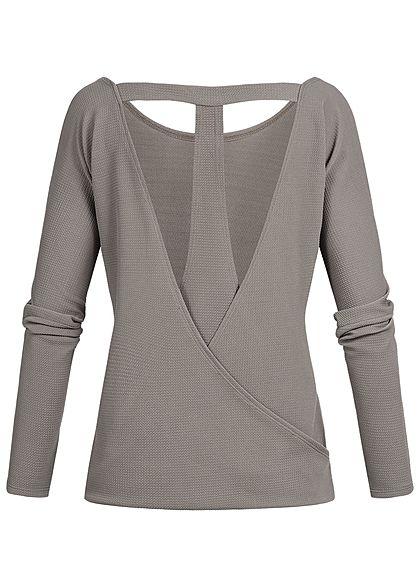 Styleboom Fashion Damen Longsleeve T-Ausschnitt hinten fango braun