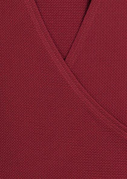 Styleboom Fashion Damen Longsleeve T-Ausschnitt hinten bordeaux rot