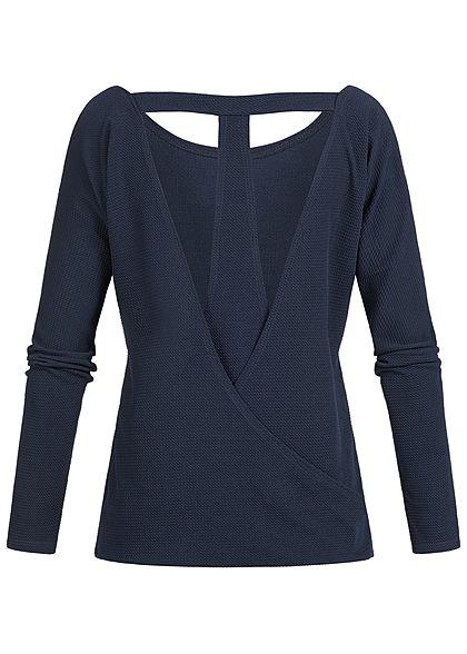 Styleboom Fashion Damen Longsleeve T-Ausschnitt hinten navy blau
