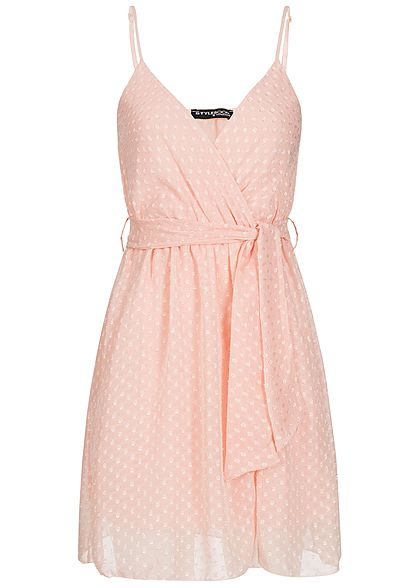 3f5396d50c07c6 Styleboom Fashion Damen Kleid 2-lagig Punkte Allover rosa - 77onlineshop