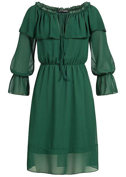 Styleboom Fashion Damen Chiffon Kleid Trompeten Ärmel dunkel grün