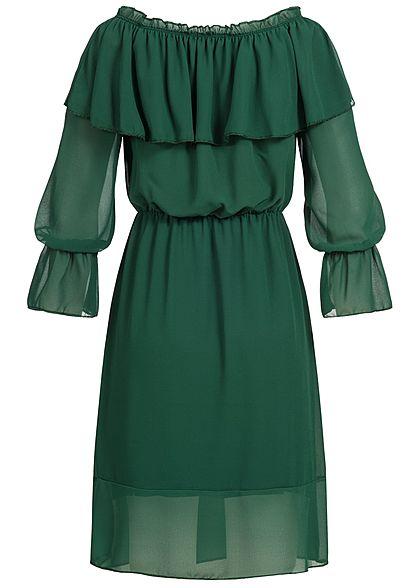 Styleboom Fashion Damen Off-Shoulder Chiffon Puffer Kleid Volantärmel dunkel grün