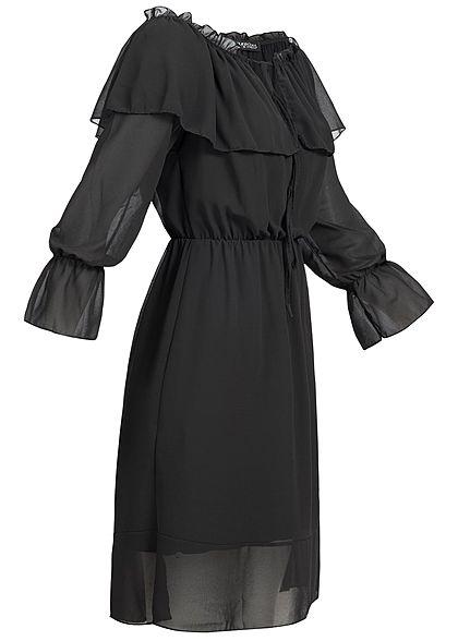 Styleboom Fashion Damen Chiffon Kleid Trompeten Ärmel schwarz