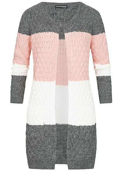 85ffd1c4749316 Styleboom Fashion Damen Strick Cardigan Colorblock dunkel grau rosa weiss -  77onlineshop