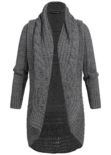 c44c0e2ec0 Styleboom Fashion Damen Strick Cardigan dunkel grau - 77onlineshop