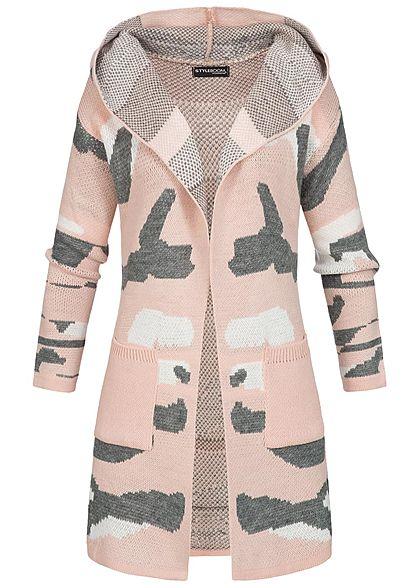 quality design 0be6e 7b1f8 Styleboom Fashion Damen Cardigan Kapuze rosa camouflage