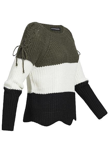 Styleboom Fashion Damen Strickpullover Colorblock Schnüre am Ärmel khaki