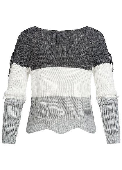Styleboom Fashion Damen Strickpullover Colorblock Schnüre am Ärmel dunkel grau