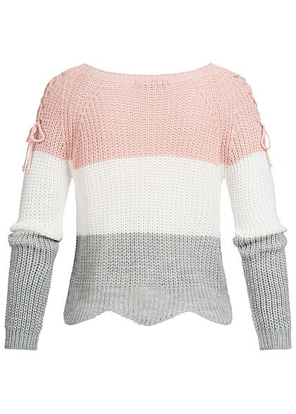 Styleboom Fashion Damen Strickpullover Colorblock Schnüre am Ärmel rosa