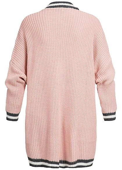 Styleboom Fashion Damen Cardigan Colorblock Streifen rosa
