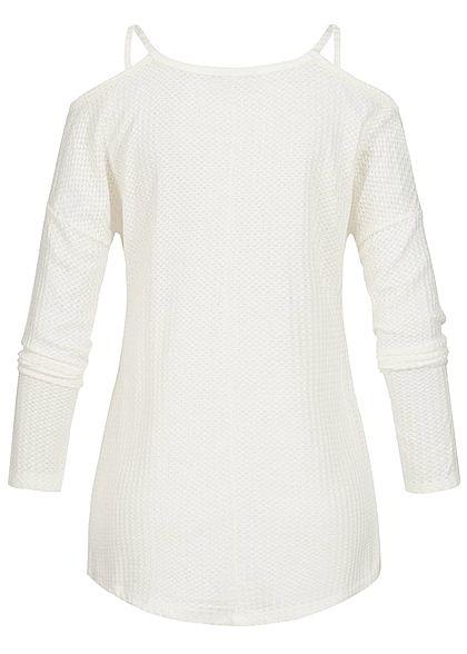 Styleboom Fashion Damen Off- Shoulder Longsleeve Pullover off weiss