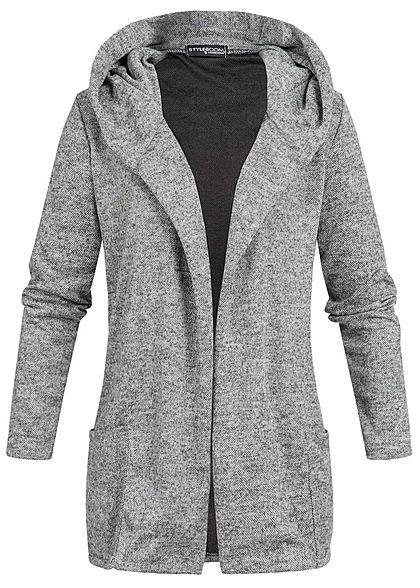 Fabelhaft Styleboom Fashion Damen Long Cardigan Kapuze 2 Taschen dunkel grau &JY_52