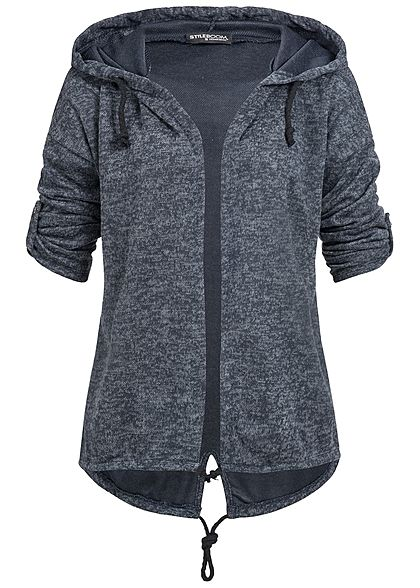 Styleboom Fashion Damen Turn-Up Cardigan navy blau