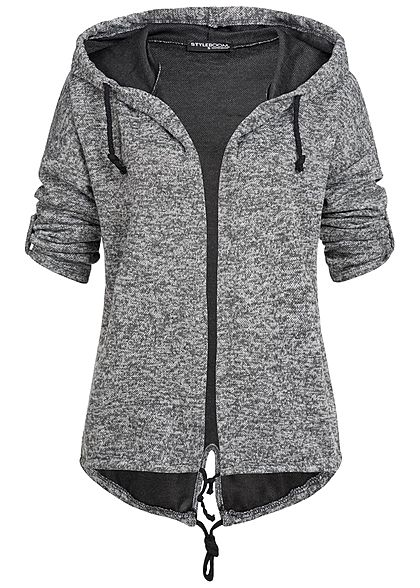 Styleboom Fashion Damen Turn-Up Cardigan dunkel grau