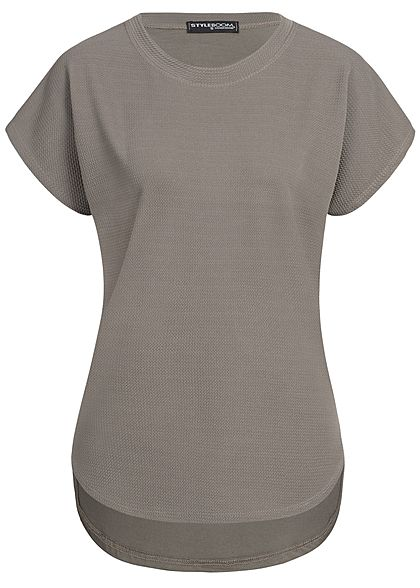 Styleboom Fashion Damen T-Shirt Mix Struktur fango braun