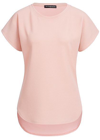 Styleboom Fashion Damen T-Shirt Mix Struktur rosa