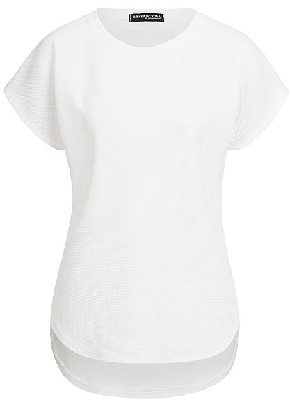 Styleboom Fashion Damen T-Shirt Mix Struktur weiss
