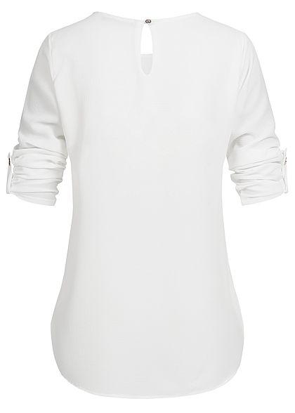 Styleboom Fashion Damen Turn-Up Blouse Shirt weiss