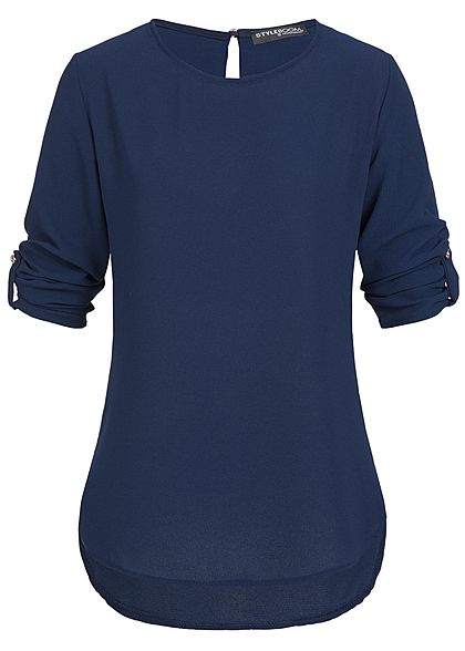 Styleboom Fashion Damen Turn-Up Bluse Tropfenschlitz navy blau