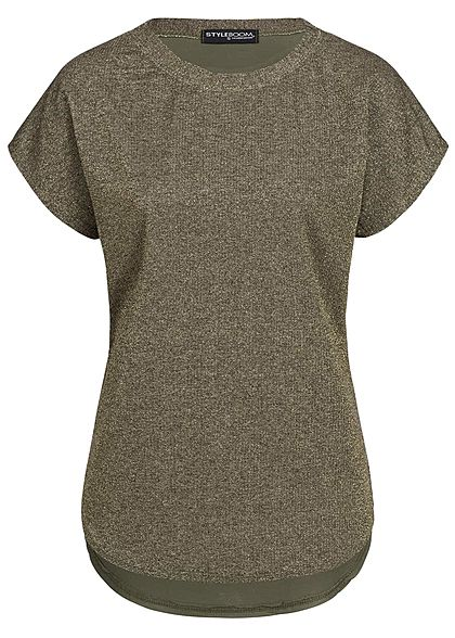 Styleboom Fashion Damen T-Shirt Glitzer Optik military grün