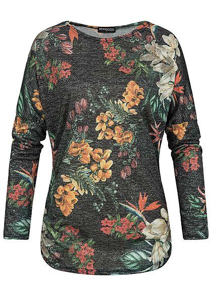 Styleboom Fashion Damen Turn-Up Lurex Shirt Blumen Print schwarz silber