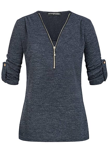 Styleboom Fashion Damen Turn-Up Shirt Zipper Ripp - Muster navy blau