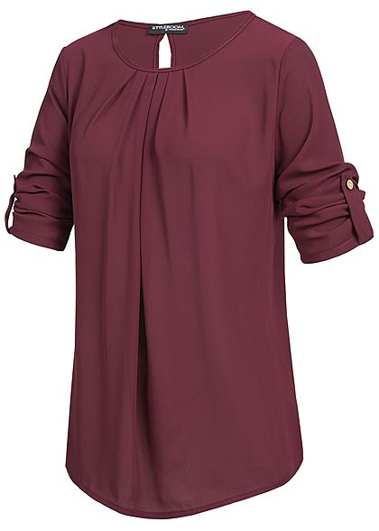 Styleboom Fashion Damen Turn-Up Blusen Shirt bordeaux rot