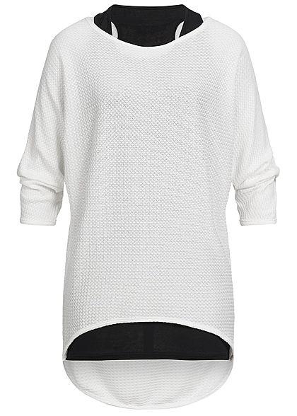 Styleboom Fashion Damen 2in1 3 4 Arm Shirt Struktur Muster weiss schwarz -  77onlineshop 6e9febe6a0