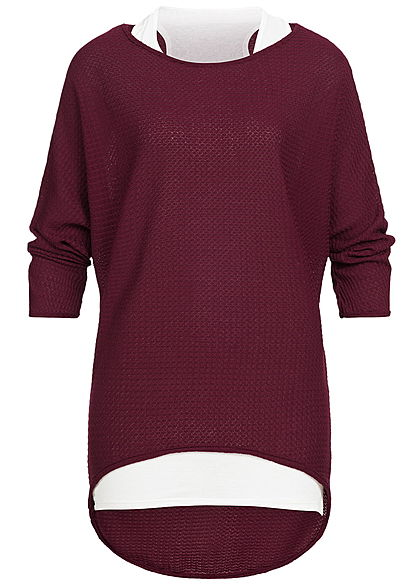 Styleboom Fashion Damen 2in1 3/4 Arm Shirt Struktur Muster bordeaux rot weiss