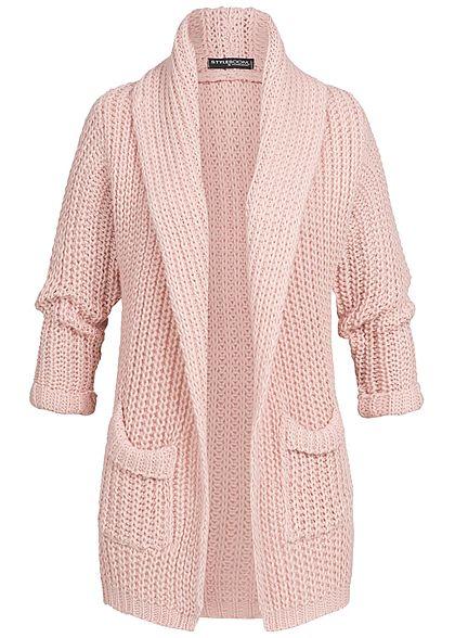 huge discount 873de 9b4d6 Styleboom Fashion Damen Grobstrick Cardigan 2 Taschen rosa