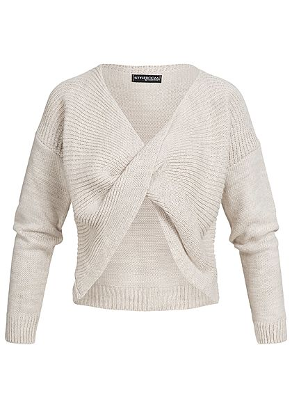 Styleboom Fashion Damen Wickel-Strickpullover beige