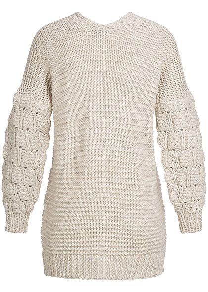 Styleboom Fashion Damen Grobstrickjacke Cardigan beige