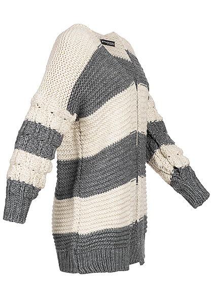 Styleboom Fashion Damen Grobstrick Cardigan gestreift dunkel grau beige
