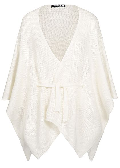 Styleboom Fashion Damen Kurz Cardigan Poncho Look off weiss