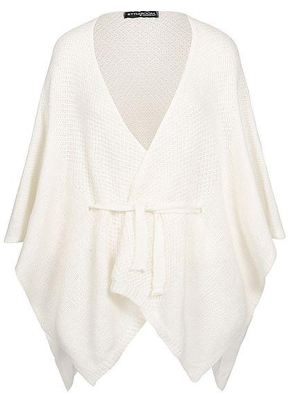 best loved 4fac7 9c776 Styleboom Fashion Damen Kurz Cardigan Poncho Look off weiss