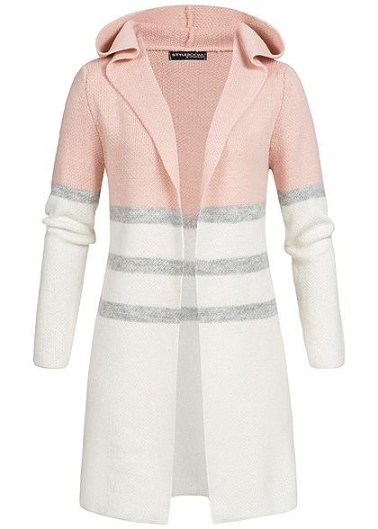 Top Styleboom Fashion Damen Long Cardigan 3-Tone Kapuze Stripes rosa #BE_43