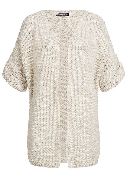 Styleboom Fashion Damen Grobstrick Cardigan beige