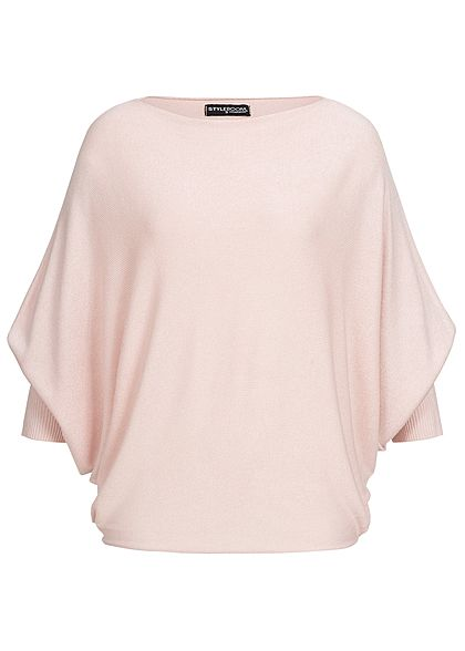 Styleboom Fashion Damen 3/4 Arm Fledermaus Shirt rosa