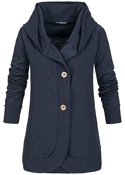 Styleboom Fashion Damen Cardigan Kapuze navy blau