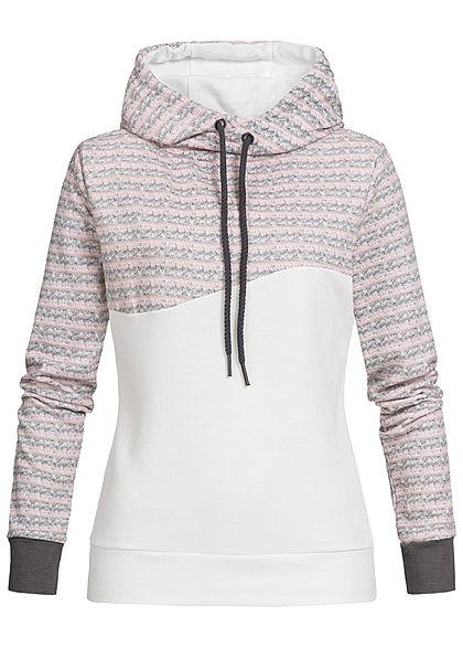 brand new 60a98 feb56 Seventyseven Lifestyle Damen Hoodie Kapuze Streifen grau rosa weiss