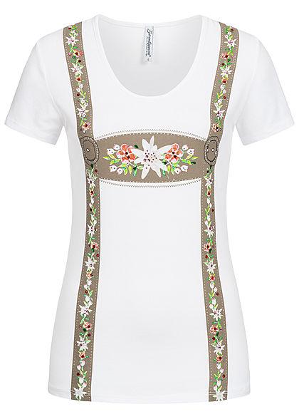 fc552318768731 Seventyseven Lifestyle Damen T-Shirt Strasssteine Blumen weiss -  77onlineshop