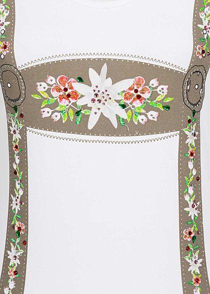 Seventyseven Lifestyle Damen T-Shirt Strasssteine Blumen weiss