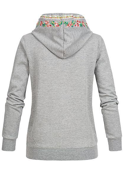 Seventyseven Lifestyle Damen Trachten Jacke Zip Hoodie Stickerei 2 Taschen hell grau