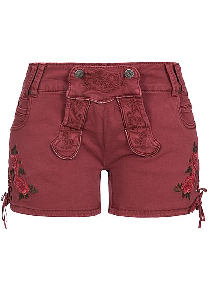 Seventyseven Lifestyle Damen Jeans Shorts mit Stickerei 5-Pockets bordeaux rot