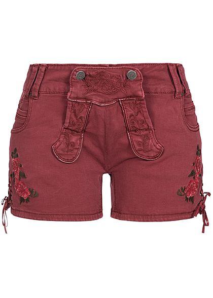Seventyseven Lifestyle Damen Jeans Shorts mit Stickerei 5 Pockets bordeaux rot