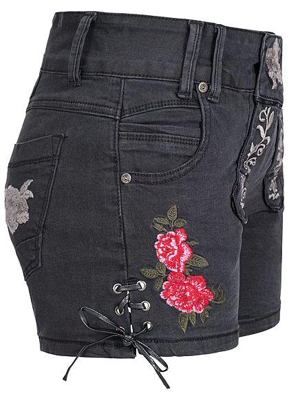 Seventyseven Lifestyle Damen Jeans Shorts mit Stickerei 5-Pockets schwarz
