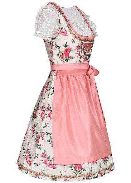 Seventyseven Lifestyle Damen Dirndl Kleid mit Schürze & Bluse rosa weiss