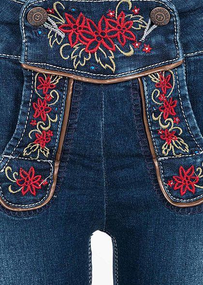 Seventyseven Lifestyle Damen Jeans Shorts mit Stickerei 5-Pockets blau denim