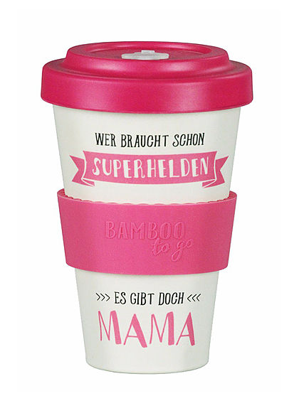Seventyseven Lifestyle Bamboo Cup Coffee to Go Becher Superhelden Mama pink beige