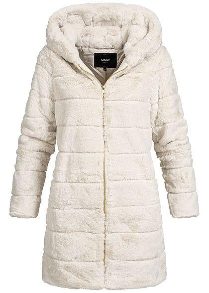 Etwas Neues genug ONLY Damen Kunstfell Mantel Kapuze 2 Taschen pumice stone beige &HN_72